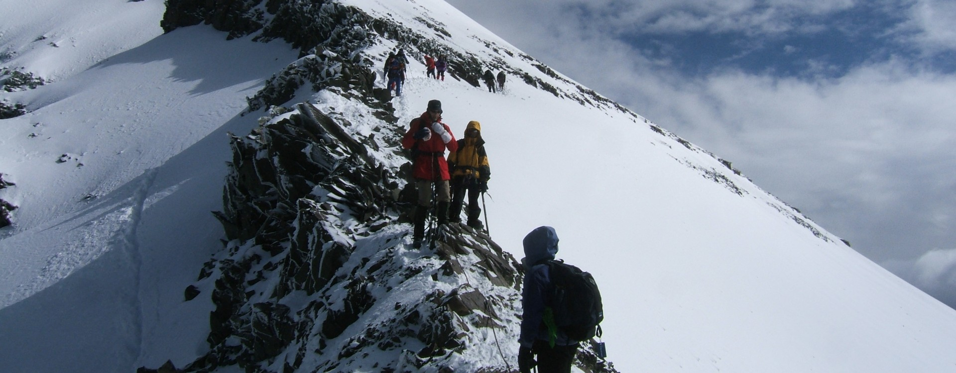 The rock ridge approach to the summit