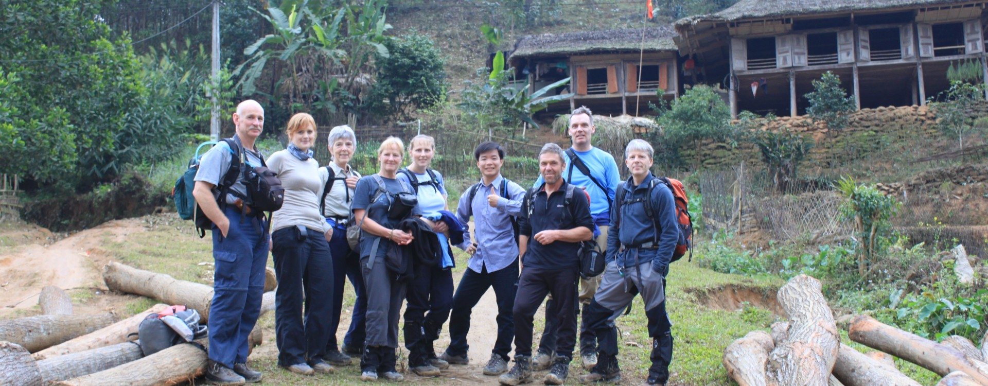 Group outstide the homestay
